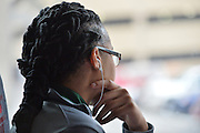 April 4, 2016; Indianapolis, Ind.; Dominique Brooks looks out the window of the team bus before their game against Lubbock Christian in the NCAA Division II Women's Basketball National Championship game at Bankers Life Fieldhouse.