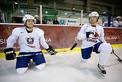 Marcel Rodman and Andrej Hebar at first practice of Slovenian National Ice hockey team before World championship of Division I - group B in Ljubljana, on April 5, 2010, in Hala Tivoli, Ljubljana, Slovenia.  (Photo by Vid Ponikvar / Sportida)