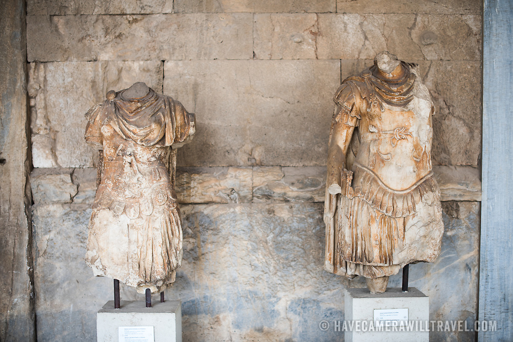 On left, statue of the personification of Odyssey. On the right, personification of the Iliad. 2nd century AD. Probably from the Library of Paintainos. The Stoa of Attalos is a 1950s recreation of a long pavilion that was originally built around 150 BC. It was part of the Ancient Agora (market). It now houses the Museum of the Ancient Agora, which includes clay, bronze and glass objects, sculptures, coins and inscriptions from the 7th to the 5th century BC, as well as pottery of the Byzantine period and the Turkish conquest.