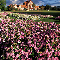 New Zealand, North Island, Flower gardens in front of the Government Bath House in town of Rotorua