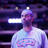 10 November 2014: San Antonio Spurs guard Tony Parker (9) is seen during the national anthem prior to the San Antonio Spurs 89-85 victory over the Los Angeles Clippers, at the Staples Center, Los Angeles, California, USA.