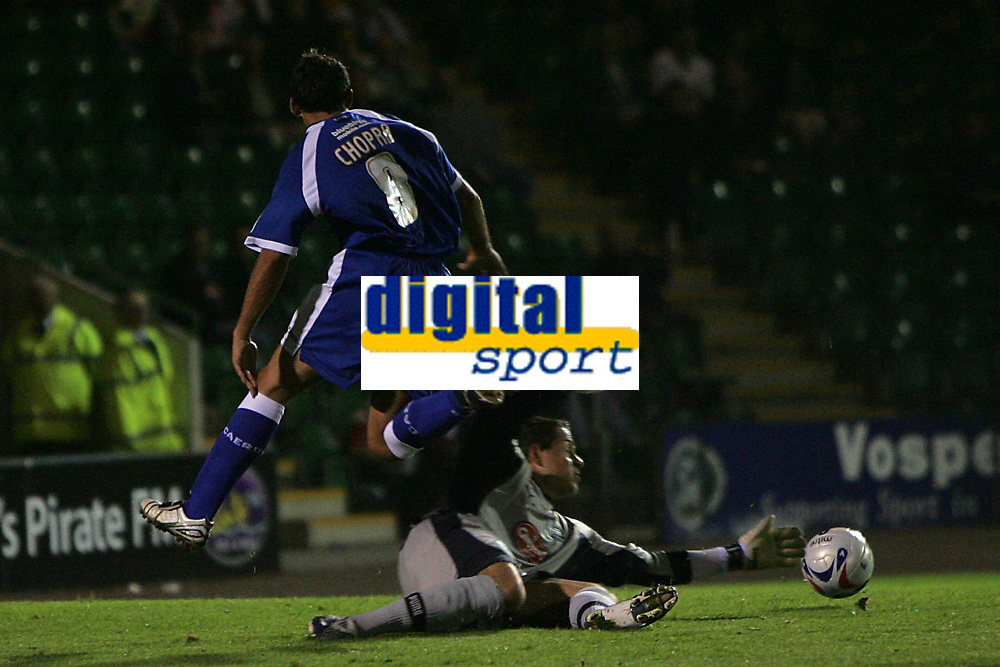 Photo: Lee Earle.<br /> Plymouth Argyle v Cardiff City. Coca Cola Championship. 12/09/2006. Cardiff's Michael Chopra (L) avoids the Argyle keeper Luke McCormick which then lead to the second goal.