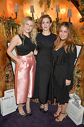 Left to right, AMY LAWRENSON, KATHERINE POWER and HANNAH ALMASSI at the UK launch of WhoWhatWear UK held at Loulou's, Hertford Street, London on 24th November 2015.