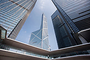 Bank of China near ICBC and Citibank towers and Cheung Kong Center in the financial district of Hong Kong, China