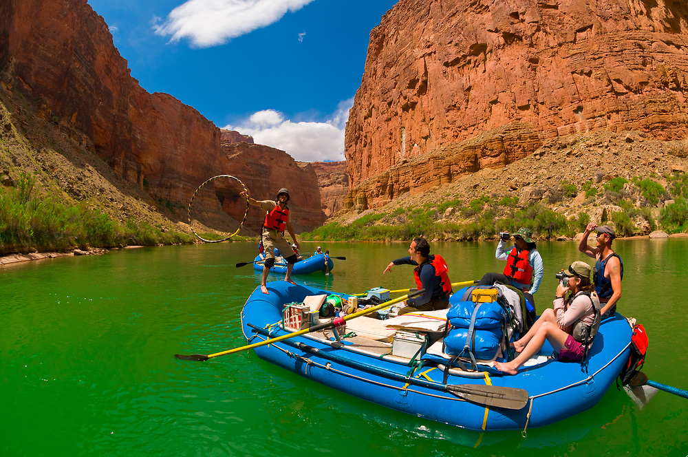 Hula hooping, White water rating trip (oar trip), Marble Canyon, Colorado River, Grand Canyon National Park, Arizona, USA
