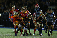 Gavin Henson of the Dragons (c). Guinness Pro14 rugby match, Cardiff Blues v Dragons at the Cardiff Arms Park in Cardiff, South Wales on Friday 6th October 2017.<br /> pic by Andrew Orchard, Andrew Orchard sports photography.
