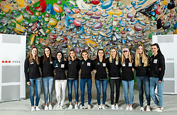 Women team at press conference of Slovenian National Climbing team before new season, on March 23, 2021 in Bolder Scena, Ljubljana, Slovenia. Photo by Vid Ponikvar / Sportida