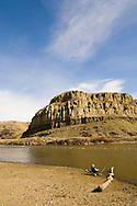 Fisherman on the Yellowstone River east of Livingston Montana