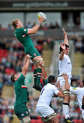 Leicester Tigers flanker Jamie Gibson wins the ball at a lineout - Photo mandatory by-line: Patrick Khachfe/JMP - Tel: Mobile: 07966 386802 - 21/09/2013 - SPORT - RUGBY UNION - Welford Road Stadium - Leicester Tigers v Newcastle Falcons - Aviva Premiership.