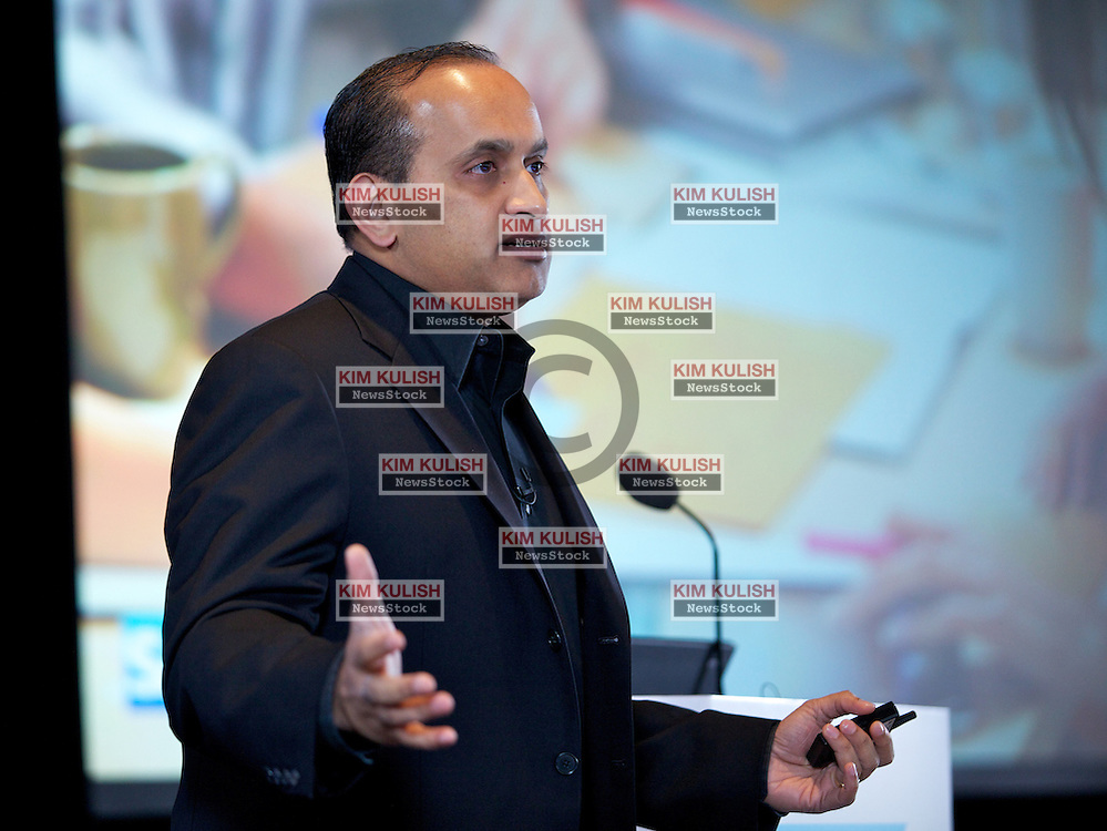 Sanjay Poonen, SAP's President, Global Solutions,  presents their new database and mobile application development roadmap during a press event in San Francisco.  SAP's HANA, high-performance analytical appliance, will be the core component in their plans.