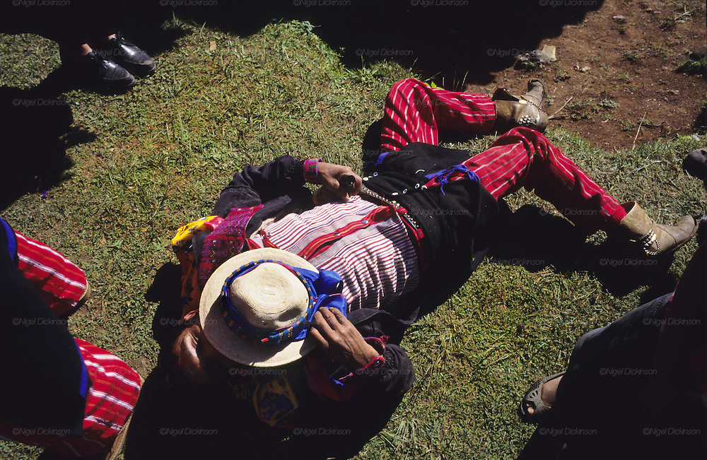 TODOS  SANTOS, Guatemala. Drunken man. Western Highlands, Huehuetenango, Todos Santos. Mayan traditional festival. Todos Santos Horse Race, the 'Skach Koyl' on All Saints Day 1st November; the 'Day of the dead' November 2nd. Mayan dances about Spanish 'Conquistadores' and Mayan Spirits, accompanied by marimbas take place October 31st.