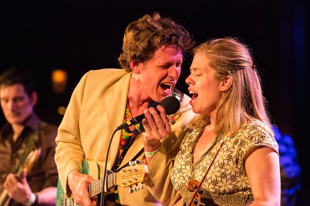 Alex Battles and Kari Denis sing a duet.