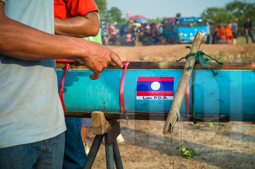 Fuselage detail of a rocket during Boun Bang Fai, aka Rocket Festival, Ban Don Nieng, a small village near Vientiane, Laos, Southeast Asia