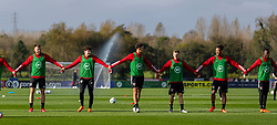 CARDIFF, WALES - Wednesday, October 7, 2020: Wales' (L-R) Rhys Norrington-Davies, Neco Williams, Ethan Ampadu, Joseff Morrell, Tyler Roberts during a training session at the Vale Resort ahead of the International Friendly match against England. (Pic by David Rawcliffe/Propaganda)