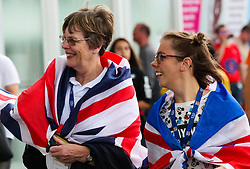 London, 2017-August-04. Great Britain supporters arrive at the London Stadium ahead of the opening of the IAAF World Championships London 2017. Paul Davey.
