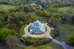 LIVERPOOL, ENGLAND - Wednesday, April 28th, 2021: An aerial drone general view of the Palm House in Sefton Park, Liverpool. The Victorian Glasshouse was built in 1896 and hosts a botanical collection of over 200 plants. (Pic by David Rawcliffe/Propaganda)