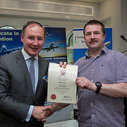 24.05.2018.       <br /> The Limerick Institute of Technology with Atlantic Air Adventures and funding from the Aviation Skillnet presented over forty certificates to Aviation professionals who have completed the Certificate in Aviation, The Aircraft Records Technician Level 7 and Part 21 Design, Level 7.<br /> <br /> Pictured at the event was Jim Gavin, The Irish Aviation Authority and Manager of the Dublin Football Team who presented, Ronan Somers with their cert.<br /> <br /> LIT in partnership with Atlantic Air Adventures, CAE Parc Aviation, Part 21 Design and industry experts such as Anton Tams, GECAS, Don Salmon, CAE Parc Aviation and Mick Malone, Part 21 Design have developed and deliver these key training programmes with funding for aviation companies provided by The Aviation Skillnet.<br /> <br /> . Picture: Alan Place