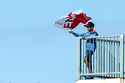 An England fan waves a flag - Mandatory by-line: Robbie Stephenson/JMP - 03/07/2019 - CRICKET - Emirates Riverside - Chester-le-Street, England - England v New Zealand - ICC Cricket World Cup 2019 - Group Stage