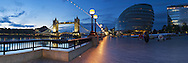 Tower Bridge and City Hall on the River Thames at dawn, London, Uk
