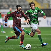 Trabzonspor's Volkan Sen (L) during their Tuttur.com Cup matchday 2 soccer match Trabzonspor between  Werder Bremen at Mardan stadium in AntalyaTurkey on 07 Monday January, 2013. Photo by Aykut AKICI/TURKPIX