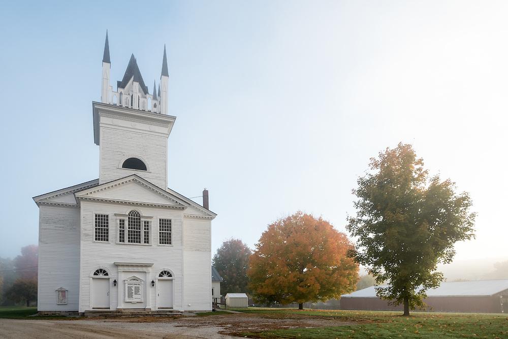 Sudbury Town Hall on a foggy morning, Sudbury, Vermont.