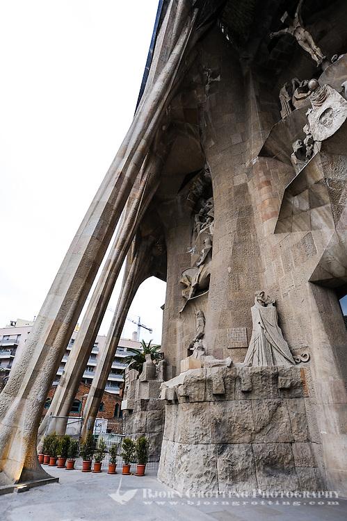 Spain, Barcelona. The Sagrada Família designed by Antoni Gaudí. Passion Facade.