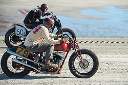 Go Takamine on his custom Indian Chief Born Free bike racing Josh Kohn on this Harley-Davidson Flathead racer at The Race of Gentlemen. Wildwood, NJ, USA. October 11, 2015.  Photography ©2015 Michael Lichter.Go Takamine with his custom Indian Chief Born Free bike at The Race of Gentlemen. Wildwood, NJ, USA. October 11, 2015.  Photography ©2015 Michael Lichter.
