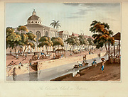 View of the great Church in Batavia [the former capital of the Dutch East Indies now Jakarta, Indonesia] from the book A voyage to Cochinchina, in the years 1792 and 1793. To which is annexed an account of a journey made in the years 1801 and 1802, to the residence of the chief of the Booshuana nation by Sir John Barrow, 1764-1848 Published in London in 1806 by T. Cadell and W. Davies