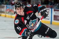 KELOWNA, CANADA - SEPTEMBER 28: Konrad Belcourt #5 of Kelowna Rockets warms up with a shot on net against the Prince George Cougars on September 28, 2016 at Prospera Place in Kelowna, British Columbia, Canada.  (Photo by Marissa Baecker/Shoot the Breeze)  *** Local Caption *** Konrad Belcourt;