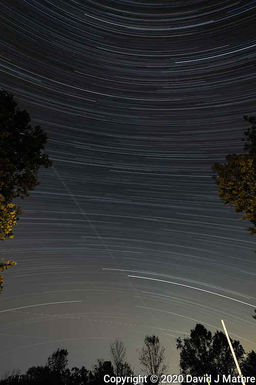 Star Trails looking south from my backyard patio. Composite of  152 image taken with a Leica SL2 camera and 16-35 mm lens (ISO 200, 16 mm, f/4, 60 seconds). JPG images processed with PhotoShop CC (scripts, statistics, maximum).