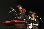 """19 January 2015-Santa Barbara, CA: The Arlington Theater Program; """"Lift Every Voice and Sing"""", St. Paul Baptist Church Mass Choir, Rev Jai Nix Dir.  Santa Barbara Honors Dr. Martin Luther King Jr. with a Day of Celebration.  The Santa Barbara MLK, Jr. Committee chose """"Drum Majors for Justice"""" as it's theme for the day which included a Pre-March Program in De la Guerra Plaza followed by a march up State Street to the Arlington Theater for speakers, music and poetry.  The program concluded with a Community Lunch at the First United Methodist Church in Santa Barbara.  Photo by Rod Rolle"""