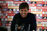 Chris Coleman , the Wales manager speaks to the press as he announces his Squad for the upcoming FIFA world cup qualifier matches in Sept/Oct against Austria and Moldova  at the Vale Resort Hotel in Hensol , South Wales on Friday 25th August 2017.  pic by Andrew Orchard,