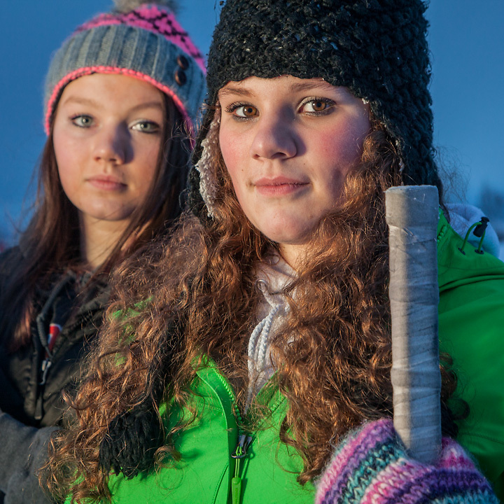 "Hannah Burnett(17) and Lauren Yow (15) at Westchester Lagoon, Anchorage.   ""Hockey is just something we do to pass the time until softball starts again"" -Hannah Burnett  aksoftball46@hotmail.com"