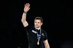 Flanker Richie McCaw (capt) celebrates on stage after New Zealand win the match 34-17 to become 2015 World Cup Champions - Mandatory byline: Rogan Thomson/JMP - 07966 386802 - 31/10/2015 - RUGBY UNION - Twickenham Stadium - London, England - New Zealand v Australia - Rugby World Cup 2015 FINAL.