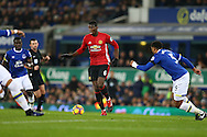 Paul Pogba of Manchester United makes a break. Premier league match, Everton v Manchester United at Goodison Park in Liverpool, Merseyside on Sunday 4th December 2016.<br /> pic by Chris Stading, Andrew Orchard sports photography.