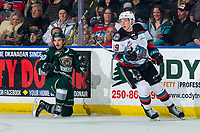 KELOWNA, BC - FEBRUARY 28: Ty Kolle #90 of the Everett Silvertips gets up off the ice after a check by Ethan Ernst #19 of the Kelowna Rockets during first period at Prospera Place on February 28, 2020 in Kelowna, Canada. (Photo by Marissa Baecker/Shoot the Breeze)