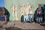 Calais, France, 27 Februari 2015, With Hope for Everyone, Grafittyartist Moirione, welcomes guests at Tioxide.