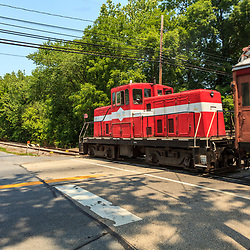The Middletown Hummelstown Railroad Locomotive at a street crossing.