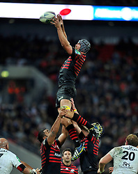 Saracens second row Alistair Hargreaves rises high to win lineout ball - Photo mandatory by-line: Patrick Khachfe/JMP - Tel: 07966 386802 - 18/10/2013 - SPORT - RUGBY UNION - Wembley Stadium, London - Saracens v Toulouse - Heineken Cup Round 2.