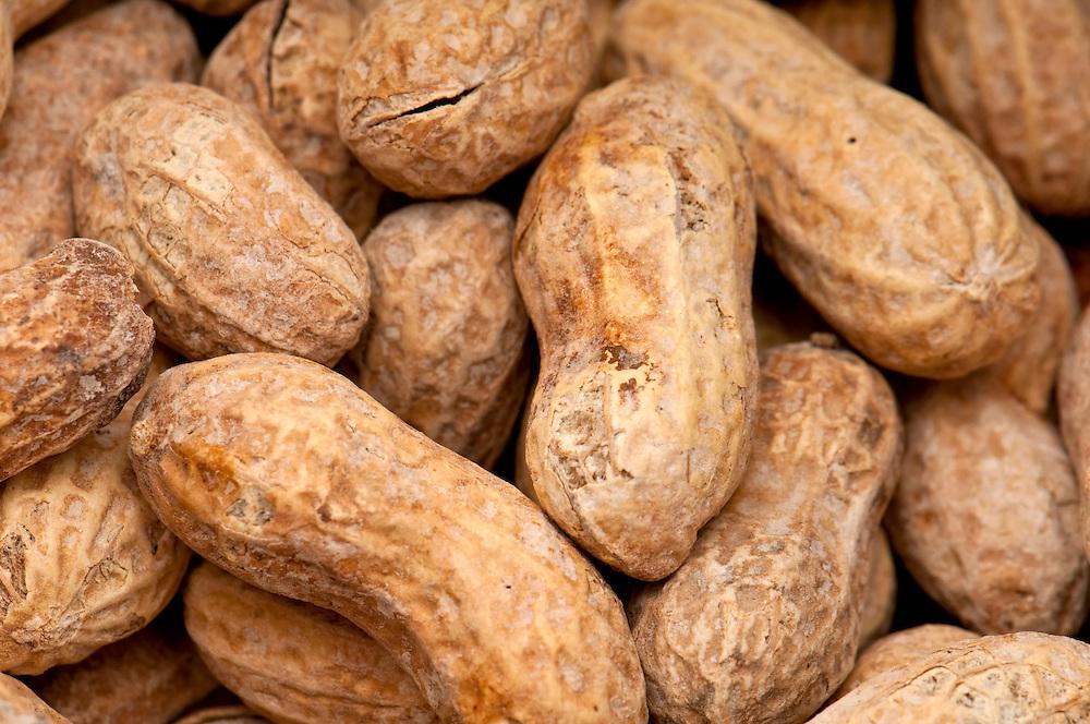 Close up view of peanuts, macro shot, use of selective focus.