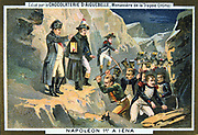 Napoleon I  (Napoleon Bonaparte 1769-1821)  at the Battle of Jena, 14 October 1806. French defeated the Austrians. Chromolithograph c1900.