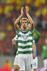 August 23, 2017 - Bucharest, Romania - Fabio Coentrao of  Sporting, greeting fans  during the UEFA Champions League play-offs 2nd leg football match between FC Steaua Bucharest and Sporting Lisbon at the National Arena Stadium, in Bucharest, Romania on August 23, 2017. (Credit Image: © Alex Nicodim/NurPhoto via ZUMA Press)