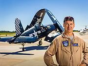 Commemorative Air Force pilot Alan Armstrong, photographed with a WWII Corsair at Atlanta's Dekalb Peachtree Airport.<br />