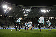 West Ham Untied players in action during the pre match warm up. Premier league match, West Ham Utd v Manchester city at the London Stadium, Queen Elizabeth Olympic Park in London on Wednesday 1st February 2017.<br /> pic by John Patrick Fletcher, Andrew Orchard sports photography.