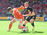 Lincoln City's Anthony Scully vies for possession with Blackpool's Oliver Turton<br /> <br /> Photographer Chris Vaughan/CameraSport<br /> <br /> The EFL Sky Bet League One Play-Off Final - Blackpool v Lincoln City - Sunday 30th May 2021 - Wembley Stadium - London<br /> <br /> World Copyright © 2021 CameraSport. All rights reserved. 43 Linden Ave. Countesthorpe. Leicester. England. LE8 5PG - Tel: +44 (0) 116 277 4147 - admin@camerasport.com - www.camerasport.com
