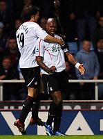 Photo: Daniel Hambury.<br />West Ham United v Liverpool. The Barclays Premiership. 26/04/2006.<br />Liverpool's  Djibril Cisse celebrates his second goal with Fernando Morientes (L).