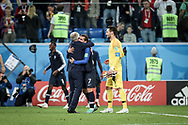 France head coach Didier Deschamps and Antoine Griezmann celebrate after winning the 2018 FIFA World Cup Russia, Semi Final football match between France and Belgium on July 10, 2018 at Saint Petersburg Stadium in Saint Petersburg, Russia - Photo Thiago Bernardes / FramePhoto / ProSportsImages / DPPI