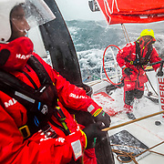 Leg 9, from Newport to Cardiff, day 06 on board MAPFRE, speed record day. Xabi Fernandez Talking with Blair Tuke. 25 May, 2018.