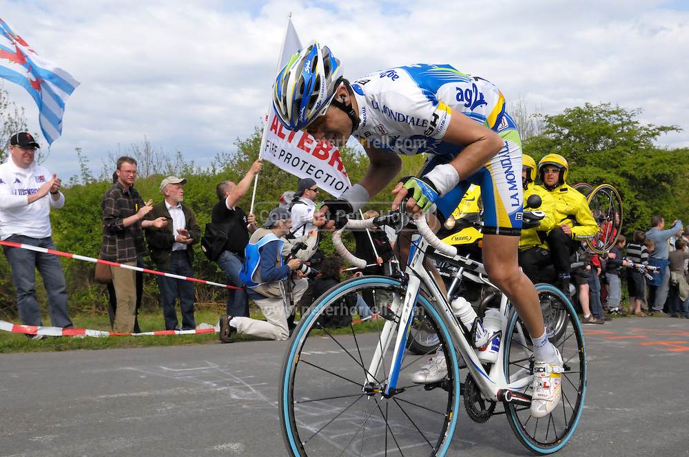Belgium, Liege - Sunday, April 26, 2009: Hubert Dupont (AG2R La Mondiale) on the climb of the Côte de la Redoute during the 2009 Liege Bastogne Liege cycle race.(Image by Peter Horrell / http://peterhorrell.com)