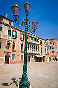 Lamp post and houses, Venice, Veneto, Italy